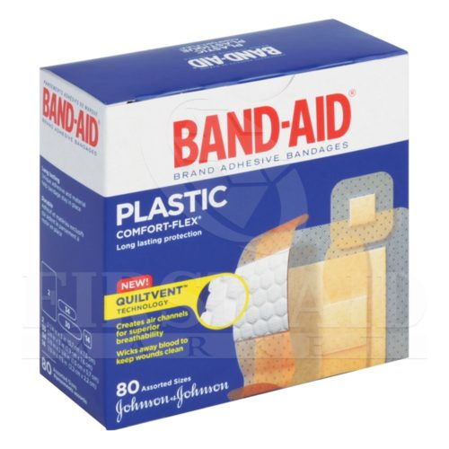 Band-Aid Brand Comfort-Flex Plastic Bandages, Assorted, 80/Box