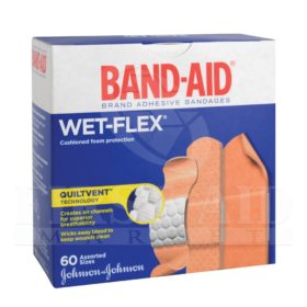 Band-Aid Brand Wet-Flex Foam Bandages, Assorted, 60/Box
