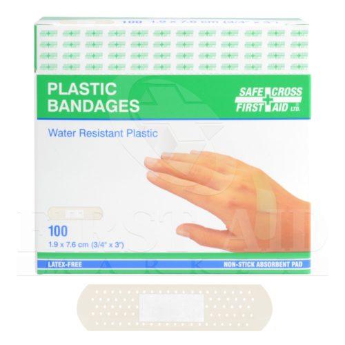 Plastic Bandages, Clear, 1.9 x 7.6 cm, 100/Box