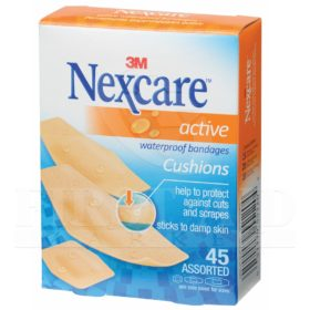 Nexcare Active Waterproof Bandages, Assorted, 45/Box