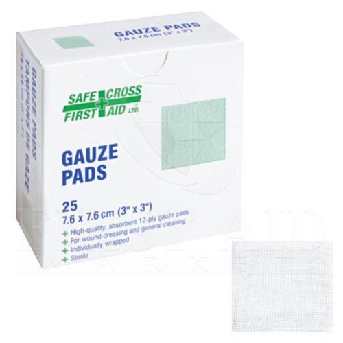 Gauze Pads, 7.6 x 7.6cm, 12-ply, Sterile