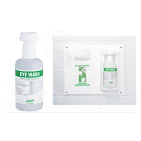Single station with one built-in socket to secure one 1 litre (33.8 oz) bottle of eye wash solution