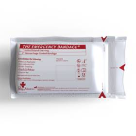 Emergency Bandage, White, 4 inch, w/Pressure Bar