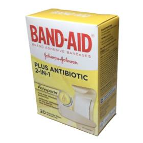 Band-Aid Adhesive Bandages Plus Antibiotic, Assorted, 20/Pack